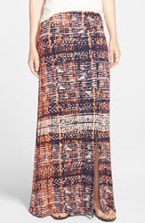 Bobeau Slit Maxi Skirt Regular And Petite Blue