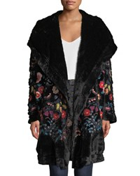 Johnny Was Gena Embroidered Faux Fur Coat W Hood Black