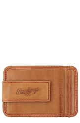 Rawlings Sports Accessories Men's Baseball Stitch Money Clip Card Case Brown Tan