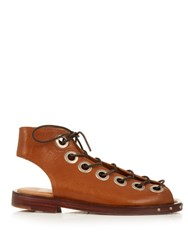 Marques Almeida Lace Up Leather Flat Sandals Brown