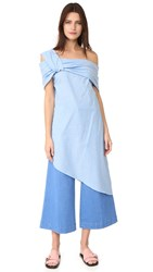 Baja East One Shoulder Dress Malibu Blue