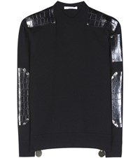 Givenchy Wool Sweater With Embossed Leather Black