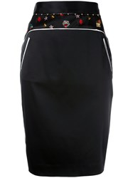 Class Roberto Cavalli Embroidery Trim Pencil Skirt Black