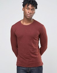 Sisley Crew Neck Long Sleeve Top In Slub Fabric Burgundy 3G8 Red