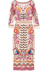 Temperley London Chimera Embroidered Tulle Midi Dress Pink
