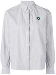 Wood Wood Striped Classic Button Collar Shirt White