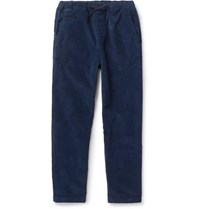 Albam Navy Hendry Tapered Cotton Corduroy Drawstring Trousers Navy