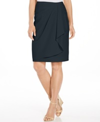 Jones New York Faux Wrap Skirt Navy