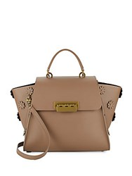 Zac Posen Flower Accented Leather Tote Bag Light Beige