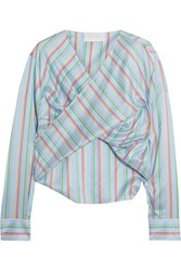 Esteban Cortazar Twist Front Striped Silk Top Blue
