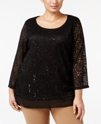 Jm Collection Plus Size Embellished Lace Tunic Only At Macy's Deep Black