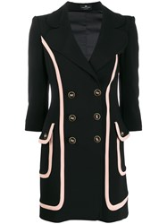 Elisabetta Franchi Fitted Double Breasted Coat Black