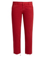 Nili Lotan East Hampton Stretch Cotton Trousers Red