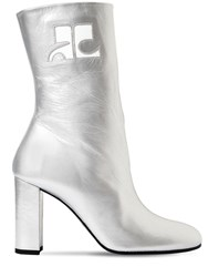 Courreges 100Mm Metallic Leather Ankle Boots Silver
