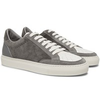 Brunello Cucinelli Suede And Grained Leather Sneakers Gray