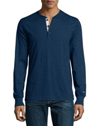 Rag And Bone Standard Issue Long Sleeve Henley Shirt Bright Blue