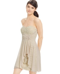 Teeze Me Juniors' Jeweled Sheer Overlay Lace Front Dress