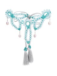 Night Market Beaded Drop Pearl Necklace Blue