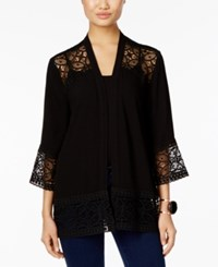 Ny Collection Petite Open Front Lace Cardigan Noir Temple