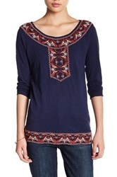 Lucky Brand Paisley Embroidered Blouse Blue