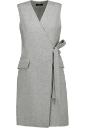 Theory Livwilth Wrap Effect Wool And Cashmere Blend Dress Gray