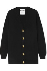 Moschino Button Embellished Wool Cardigan Black