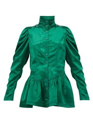 Sies Marjan Thea Bodice Satin Jacket Dark Green