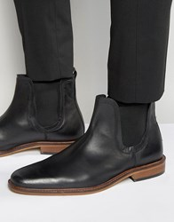 Dune Chelsea Boots In Black Leather Black