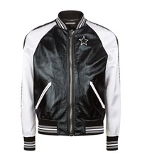 Givenchy Leather And Satin Star Bomber Jacket Male