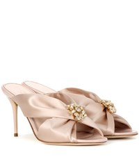 Oscar De La Renta Satin Slip On Sandals Pink