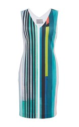 Clover Canyon Striped Eclipse Sleeveless Dress With White Piping Print