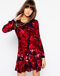 Aryn K Long Sleeve Shift Dress In Rose Print Rasberryindigo