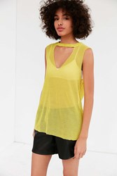 Truly Madly Deeply Mesh V Neck Tank Top Yellow