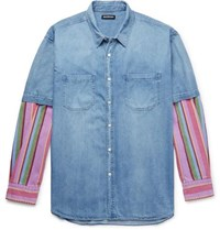 Balenciaga Oversized Panelled Striped Denim Shirt Light Blue