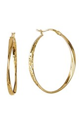 Argentovivo 18K Gold Plated Sterling Silver Faceted Twist Oval Hoop Earrings Metallic
