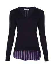 Altuzarra Colbert Striped Hem Wool Sweater Navy