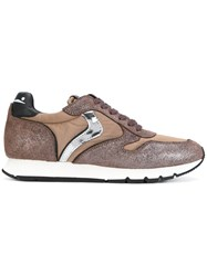 Voile Blanche Panelled Sneakers Women Leather Polyester Rubber 38 Brown