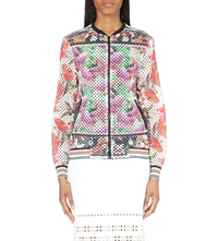 Clover Canyon Floral Print Perforated Bomber Jacket Multi