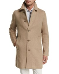 Loro Piana Dweller Wool Cashmere Single Breasted Coat Desert Rose Melange Gray Ice Deser Rose Melang