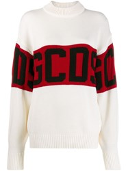 Gcds Knitted Logo Jumper White