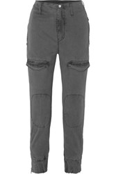 Rta Harlan Stretch Cotton Twill Tapered Cargo Pants Gray
