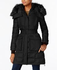 French Connection Faux Fur Trim Belted Coat A Macy's Exclusive Black