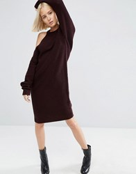 Asos White Knitted Midi Dress With Cut Out Shoulder Detail Dark Red