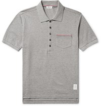 Thom Browne Slim Fit Cotton Pique Polo Shirt Gray