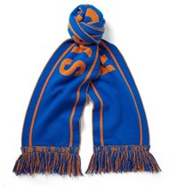The Elder Statesman Nba Knicks Fringed Intarsia Cashmere Scarf Blue