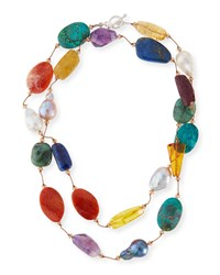 Multi Stone And Pearl Hand Knotted Necklace 35' Margo Morrison
