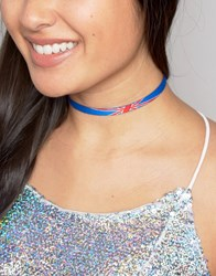 Asos Limited Edition Union Jack Choker Necklace Multi Gold