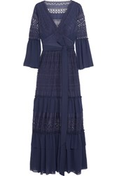Temperley London Cutout Chiffon Paneled Crocheted Lace Maxi Dress Blue