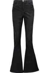 Current Elliott The High Rise Cotton Blend Corduroy Flared Jeans Charcoal