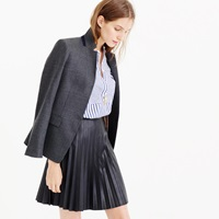 J.Crew Tall Faux Leather Pleated Mini Skirt